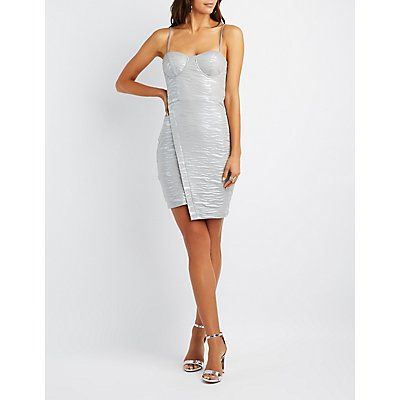Textured Stripe Asymmetrical Bustier Bodycon Dress