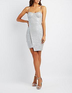 Textured Stripe Asymmetrical Bustier Bodycon Dress
