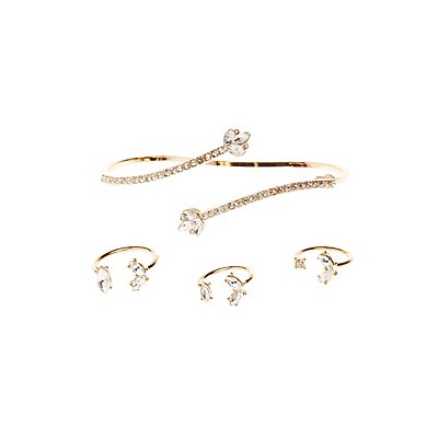 Embellished Hand Cuff & Stacking Rings Set