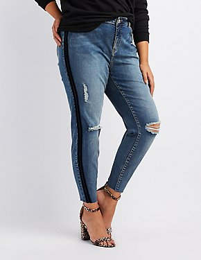 Plus Size Velvet Stripe Destroyed Skinny Jeans