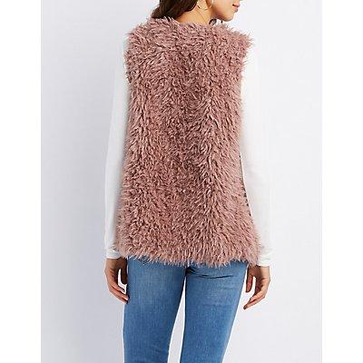Shaggy Faux Fur Open-Front Vest