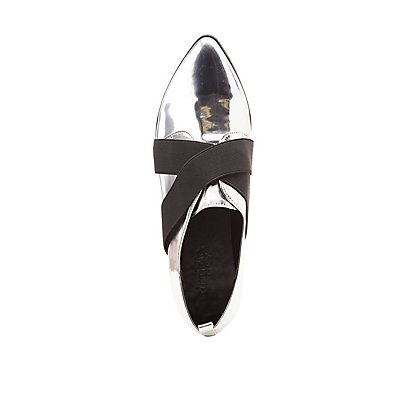 strappy Metallic Pointed Toe Oxfords