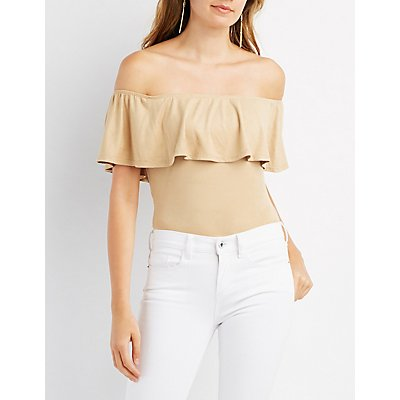 Faux Suede Off-The-Shoulder Bodysuit