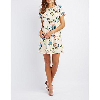 Floral Caged-Back Shift Dress