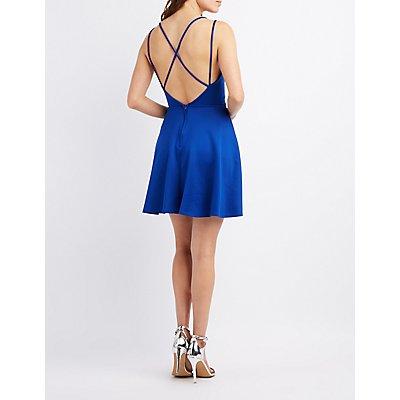 Surplice Strappy-Back Skater Dress