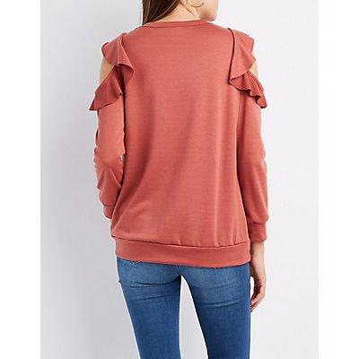 Ruffle-Trim Cold Shoulder Sweater