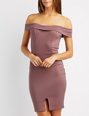 Foldover Off-The-Shoulder Bodycon Dress