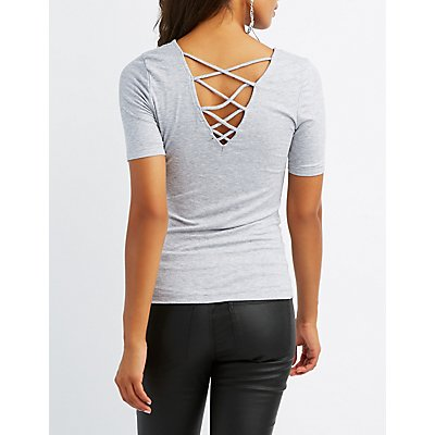 Ribbed Lattice-Back Top