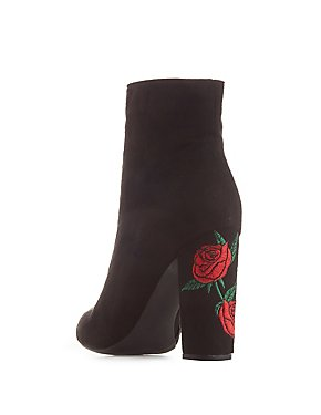 Wide Width Rose Embroidered Ankle Booties