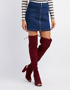 Peep Toe Over-The-Knee Boots