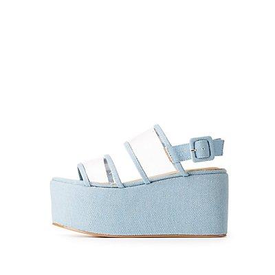 Clear & Denim Slingback Flatform Sandals