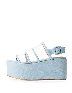 Clear & Denim Slingback Flatform Sandals