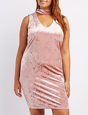 Plus Size Velvet Mock Neck Cut-Out Bodycon Dress
