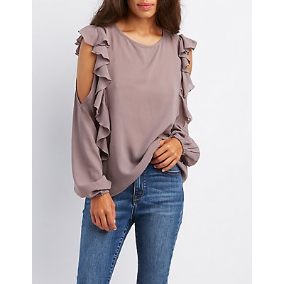 Ruffle-Trim Cold Shoulder Blouse