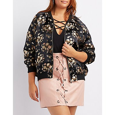 Plus Size Satin Brocade Bomber Jacket