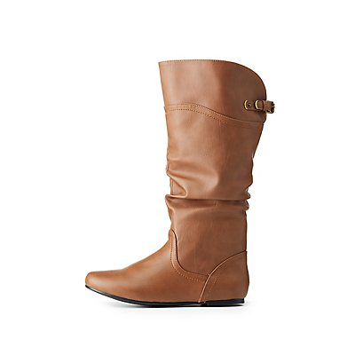 Slouchy Flat Knee-High Riding Boots
