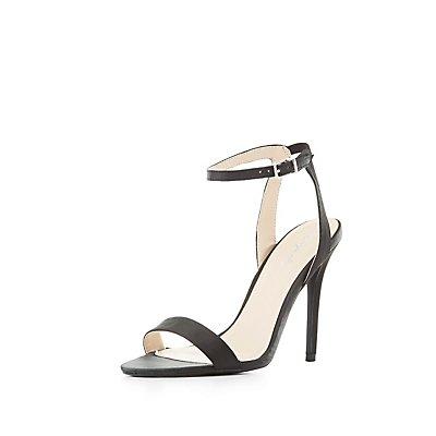 Qupid Satin Two-Piece Sandals