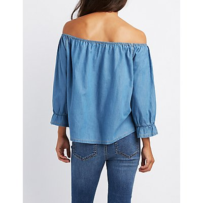 Chambray Off-The-Shoulder Button-Up Top