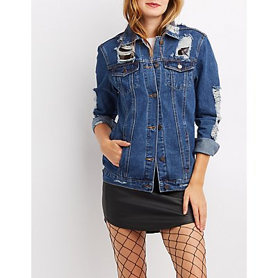 Mesh-Trim Destroyed Denim Jacket