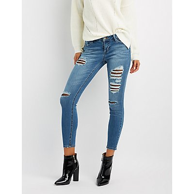 Fishnet-Inset Destroyed Skinny Jeans