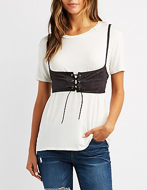 Lace-Up Corset-Detail Tee