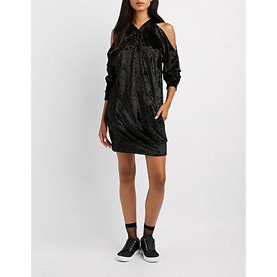 Velvet Cold Shoulder Sweatshirt Dress