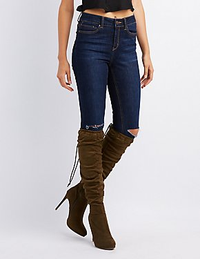Ruched Lace-Up Back Over-The-Knee Boots