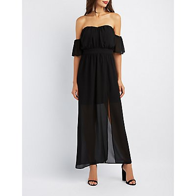 Off-The-Shoulder Flutter Sleeve Maxi Dress