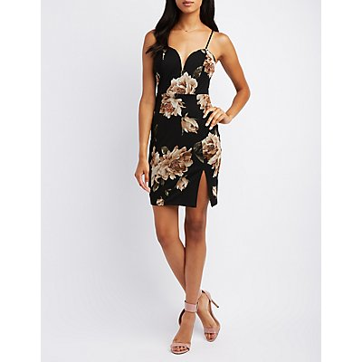 Floral Mesh Plunging Bodycon Dress