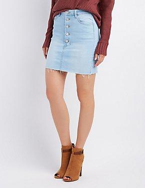 Refuge Destroyed Button-Up Denim Skirt