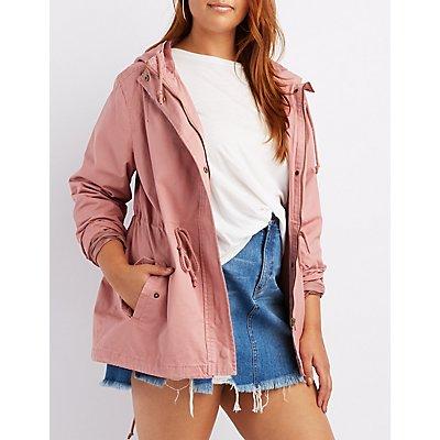 Plus Size Hooded Anorak Jacket