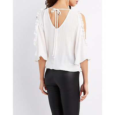 Embroidered Cold Shoulder Surplice Top