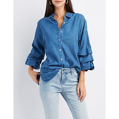 Chambray Ruched Sleeve Button-Up Shirt
