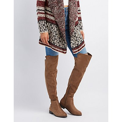 Faux Suede Combo Over-The-Knee Boots