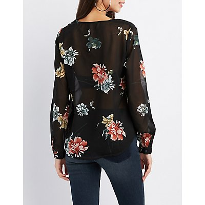 Floral Printed Caged Blouse