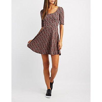 Scoop Neck Floral Skater Dress