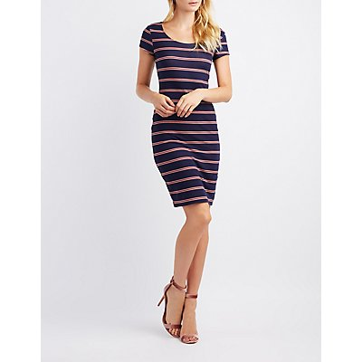 Striped Scoop Neck Bodycon Dress