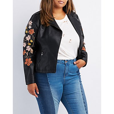 Plus Size Embroidered Faux Leather Moto Jacket