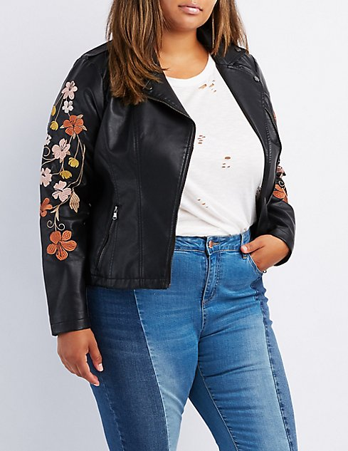 24f349fd5 Plus Size Embroidered Faux Leather Moto Jacket | Charlotte Russe