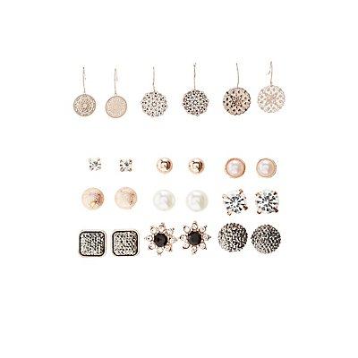 Embellished Chandelier & Stud Earrings - 12 Pack