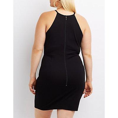 Plus Size Scalloped Bib Neck Bodycon Dress