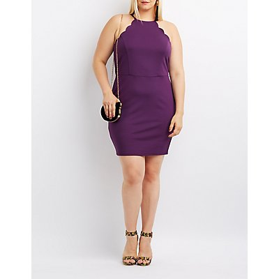 Plus Size Scalloped Bib Neck Bodycon Dress