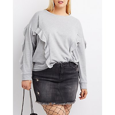 Plus Size Ruffle-Trim Pullover Sweatshirt