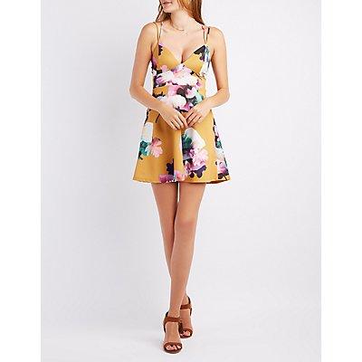 Floral Strappy-Back Skater Dress