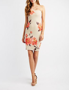 Floral Mesh Strapless Bodycon Dress