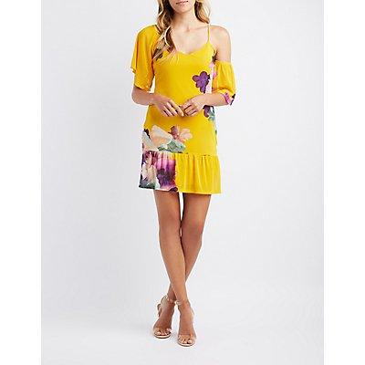Floral Asymmetrical Cold Shoulder Dress
