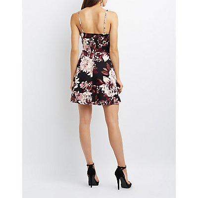 Floral Notched Skater Dress