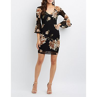 Floral Mesh Bell Sleeve Bodycon Dress