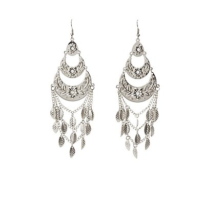 Embellished Leaf Drop Earrings