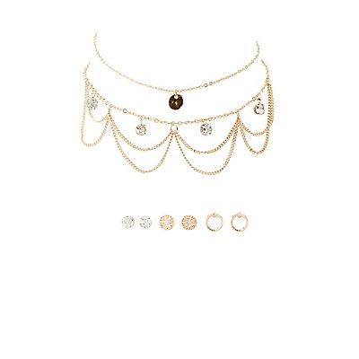 Embellished Chokers & Stud Earrings Set